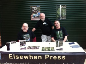 Launch at Eastercon March 31 2013. Ira Nayman and Dave Weaver with Elsewhen Press factotum Pete