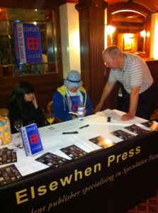 Charles Partington talks to James Starling at the launch of his novel Arteess: Conflict at Novacon 43