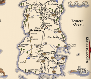 Detail from map of Brisia showing Reimar and its immediate neighbours Produced by Jonathan Rivalland and Alison Buck
